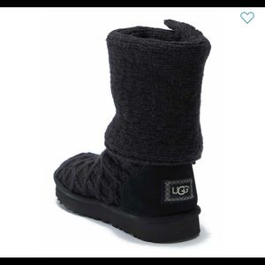 NWOB UGG cable knit tall boots black Sz 7